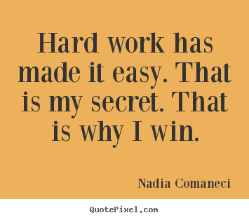 Inspirational quote - Hard work has made it easy. that is my secret. that..