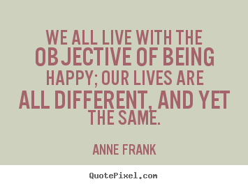 Quote about motivational - We all live with the objective of being happy; our lives are all different,..